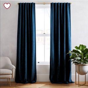 West Elm Worn Velvet Blue Curtains set 48x96 $298